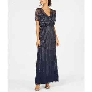Adrianna Long Wrap Surplice Beaded Gown Dress